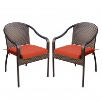 Set of 2 Cafe Curved Stacking Wicker Chairs - Brick Red Cushions