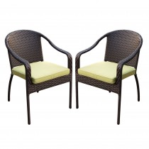 Set of 2 Cafe Curved Stacking Wicker Chairs - Sage Green Cushions
