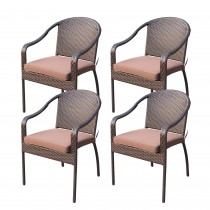 Set of 4 Cafe Curved Stacking Wicker Chairs - Brown Cushions