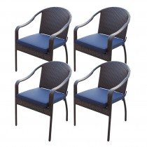 Set of 4 Cafe Curved Stacking Wicker Chairs - Midnight Blue Cushions