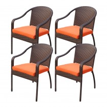 Set of 4 Cafe Curved Stacking Wicker Chairs - Orange Cushions