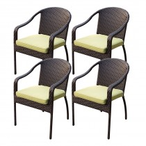 Set of 4 Cafe Curved Stacking Wicker Chairs - Sage Green Cushions