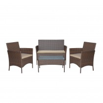 """Conor 4PC Steel Esprsso Resin Wicker Patio Conversation Set with 2"""" Tan cushion"""