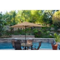 6.5' x 10' Aluminum Patio Market Umbrella Tilt w/ Crank - Brown Fabric/Black Pole