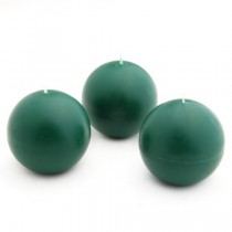 "3"" Hunter Green Ball Candles (6pc/Box)"