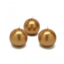 2 Inch Metallic Gold Ball Candles (12pc/Box)