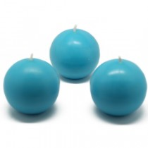 3 Inch Turquoise Ball Candles (6pc/Box)