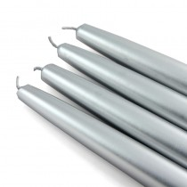 "6"" Metallic Silver Taper Candles (1 Dozen)"