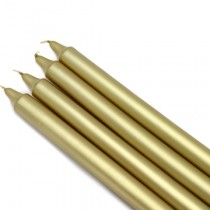 10 Inch Metallic Gold Straight Taper Candles (1 Dozen)