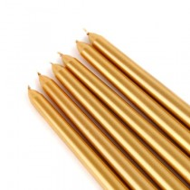 "12"" Metallic Bronze Gold Taper Candles (1 Dozen)"