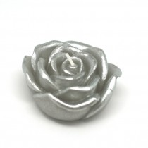 "3"" Metallic Silver Rose Floating Candles (12pc/Box)"