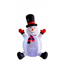 8' Inflatable Snowman with Rotating Light
