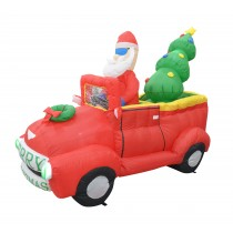 7FT Santa In Red Trunk With Christmas Santa on Car