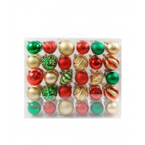 60PK Shatterproof Ornaments - Green/Gold/Red