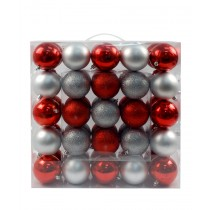 50Pk 75Mm Plastic Ornaments -Red/Silver