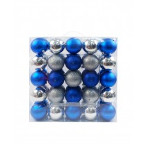 50Pk 75Mm Plastic Ornaments -Blue/Silver
