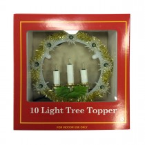 10 Lite Tree Topper W/Candle-Clear Light