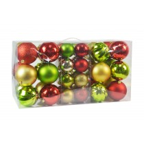 40Pk Christmas Ornament- Red/Gold/Green