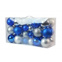 40Pk Christmas Ornament- Silver/Blue