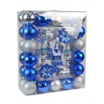 50Pk Christmas Ornament-Blue And Silver
