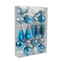 27Pk Christmas Ornament-Blue And Silver