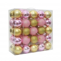 "Combo 50Pk 3""  Shiny Glitter Square-Gold/Pink Christmas Ornament"