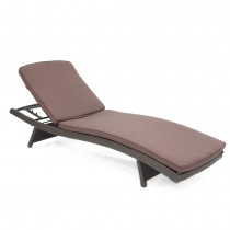 Wicker Adjustable Chaise Lounger with Brown Cushion - Set of 2