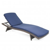 Wicker Adjustable Chaise Lounger with Midnight Blue Cushion - Set of 2