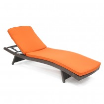 Wicker Adjustable Chaise Lounger with Orange Cushion - Set of 2