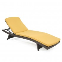 Wicker Adjustable Chaise Lounger with Mustard Cushion - Set of 2