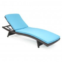 Wicker Adjustable Chaise Lounger with Sky Blue Cushion - Set of 2