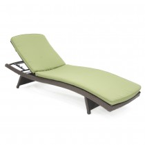 Wicker Adjustable Chaise Lounger Sage Green Cushion - Set of 2