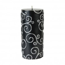 3 x 6 Inch Black Scroll Pillar Candle