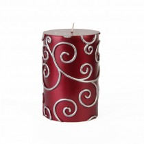 3 x 4 Inch Red Scroll Pillar Candle