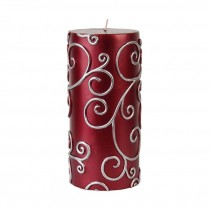 3 x 6 Inch Red Scroll Pillar Candle