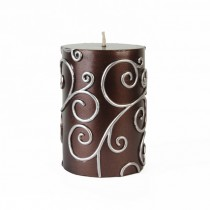 3 x 4 Inch Brown Scroll Pillar Candle