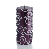 3 x 6 Inch Purple Scroll Pillar Candle