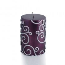 3 x 4 Inch Purple Scroll Pillar Candle