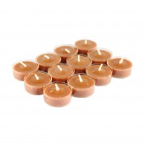 12pk Rain Lissed Oak Leaf Brown TeaLight Candles