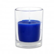 Blue Round Glass Votive Candles (12pc/Box)