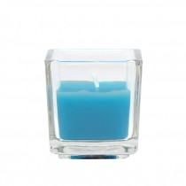Turquoise Square Glass Votive Candles (12pc/Box)