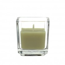 Sage Green Square Glass Votive Candles (12pc/Box)