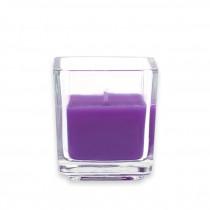 Purple Square Glass Votive Candles (12pc/Box)