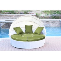 All-Weather White Wicker Sectional Daybed - Sage Green Cushions