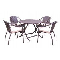 5pcs Cafe Curved Back Chairs and Folding Wicker Table Dining Set - Tan Cushions