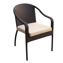 Set of 4 Cafe Curved Stacking Wicker Chairs - Tan Cushions