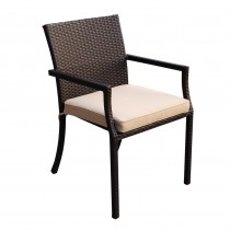 Set of 4 Cafe Square Back Stacking Wicker Chairs - Tan Cushions