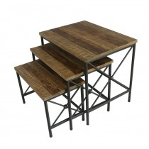 Set of 3 Rectangle Wood & Metal  End Table