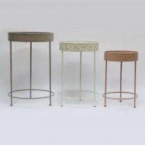 S/3 Wood and Metal Planter Table