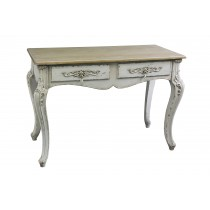 Antique 2-Drawer Console Table in White